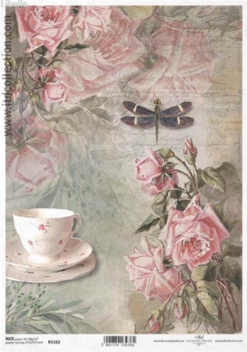 Ριζόχαρτο Α4 40gr Vintage κούπα-τριαντάφυλλα