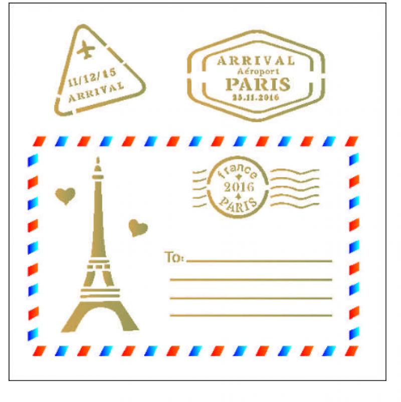 stensil 14χ14 Postcard Paris 2008
