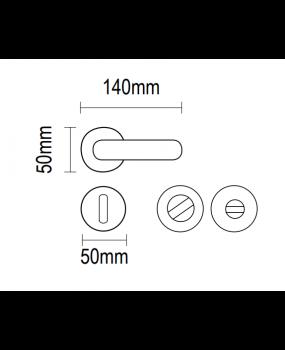 Xερούλι πόρτας ροζέτα INOX MAT ματ 06.1040