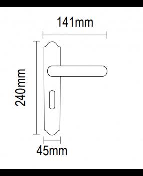 Χερούλι πόρτας πλάκα ορειχάλκινο πορσελάνη 06.960