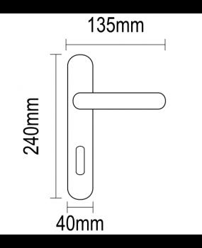 Χερούλι πόρτας πλάκα νίκελ ματ-χρώμιο 06.1010