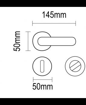 Χερούλι πόρτας ροζέτα νίκελ ματ-χρώμιο ορείχαλκος  06.1100