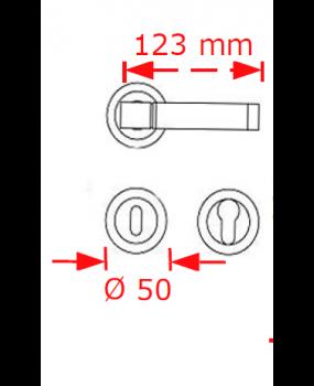 Χερούλι πόρτας ροζέτα νίκελ ματ 004