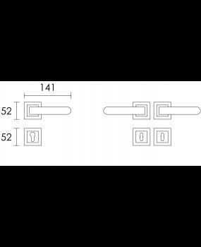 Χερούλι πόρτας ροζέτα conset black  C1785 convex