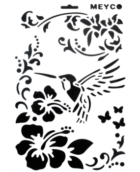Stencil άνθη-πουλιά
