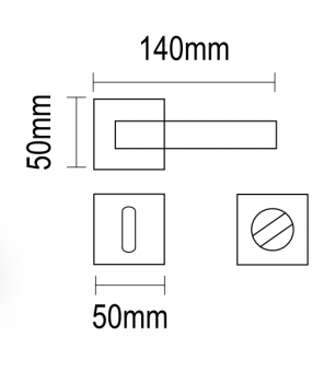 Χερούλι πόρτας ροζέτα μαύρο ματ  06.1120 Viometal