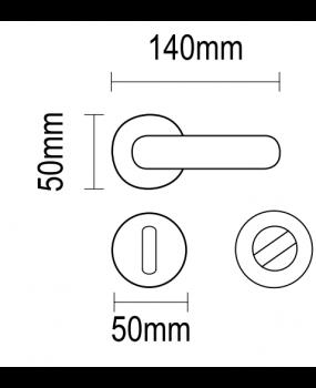 Χερούλι πόρτας ροζέτα brass νίκελ ματ 06.580 viometal