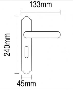 Χερούλι πόρτας πλάκα ορειχάλκινο αντικέ πορσελανη 06.980