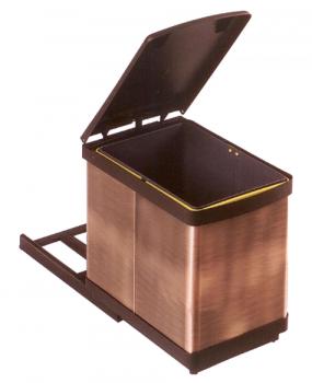 Κάδος Απορριμμάτων κουζίνας  συρόμενος μπρονζέ 16lit