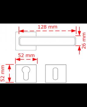 Χερούλι πόρτας ροζέτα inox matt  250