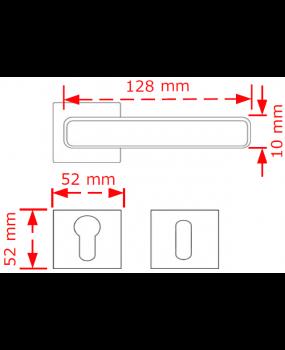 Χερούλι πόρτας ροζέτα inox matt 259