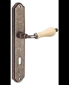 Χερούλι πόρτας ορειχάλκινο πλάκα old silver πορσελάνη Κ315