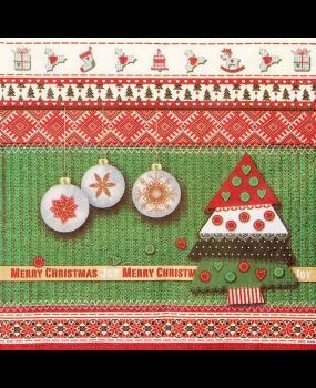 Χαρτοπετσέτες Decoupage 33 x 33 Χριστούγεννα από... ύφασμα