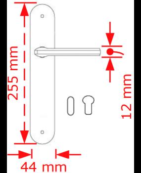 Χερούλι πόρτας πλάκα νίκελ matt   4085