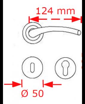 Χερούλι πόρτας νίκελ ματ/χρώμιο ροζέτα 4087