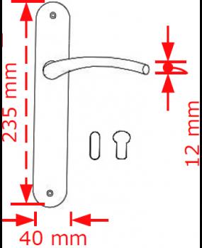 Χερούλι πόρτας πλάκα Nikel matt  4087