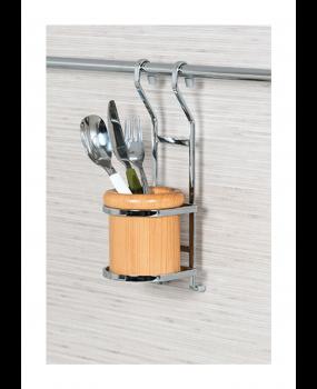 κουταλοθήκη κρεμαστή ξύλινη-ανοξείδωτο μέταλλο