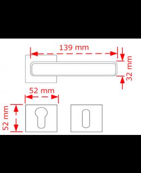 Χερούλι πόρτας ροζέτα  νίκελ ματ code fish 533