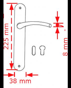 Χερούλι πόρτας πλάκα σε νίκελ ματ 62