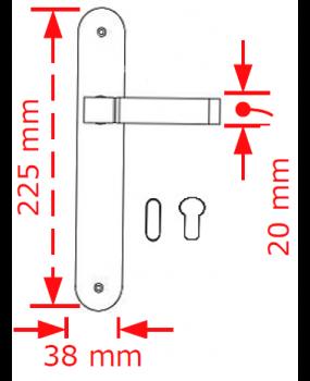 Χερούλι πόρτας πλάκα nikel matt / chrome 63