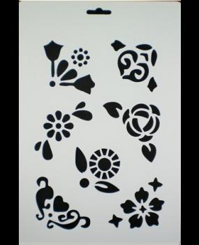 Stencil Α4 λουλούδια-γωνίες