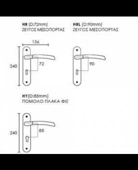 Χερούλι πόρτας πλάκα conset  Ματ Νίκελ -Χρώμιο C 1045
