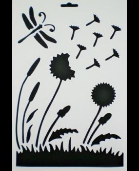 Stencil λουλούδι-λιβελούλα