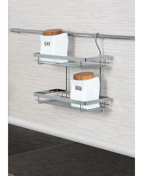 Κρεμαστό διπλό ράφι κουζίνας inox  350x140x360 mm S 4006