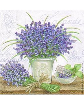 Χαρτοπετσέτες Decoupage 33 x 33 lavender scene cream