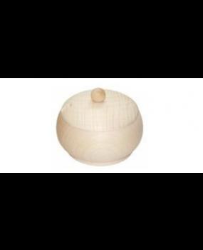 Ξύλινο Στρόγγυλο Βάζο Με Καπάκι